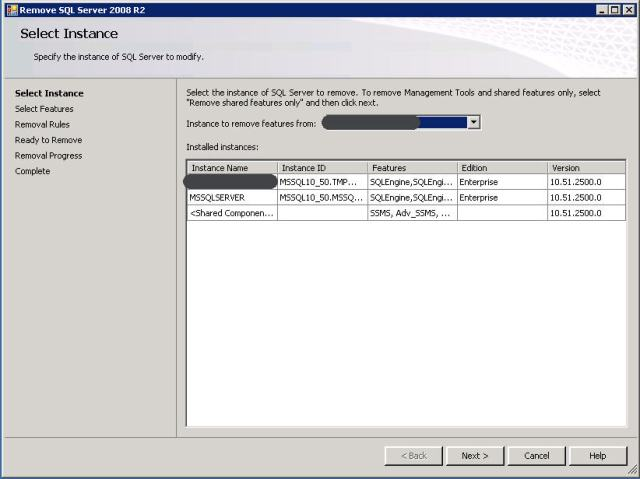 uninstall named instance sql 2008