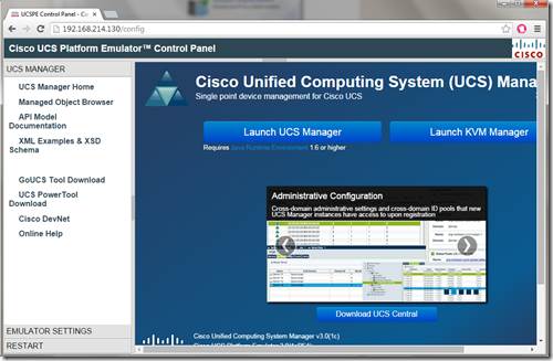 access Cisco UCS Platform Emulator Control Panel
