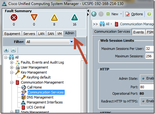 Cisco UCS Admin Page
