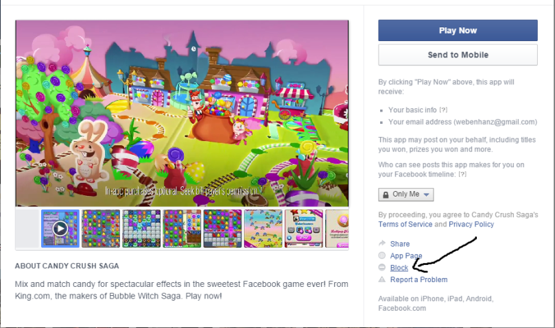 Block Game Request from Facebook users