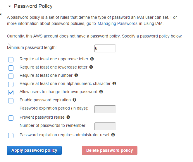 Password Policy settings in AWS