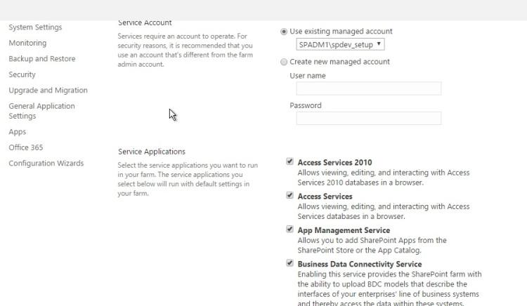 Running SharePoint 2016 configuration wizard and select service account