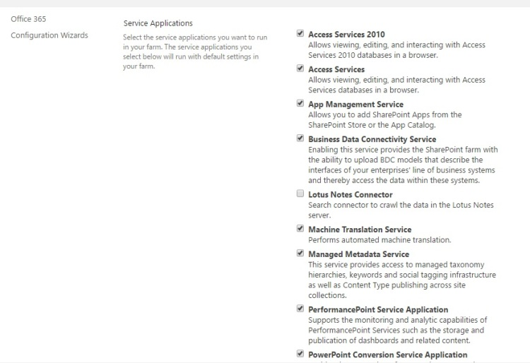 Select SharePoint 2016 services