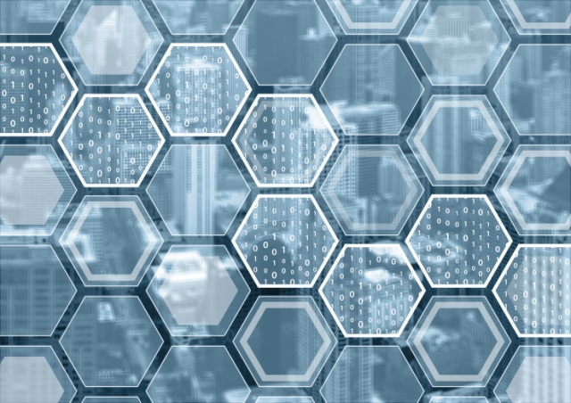 Blockchain or digitization blue and grey background