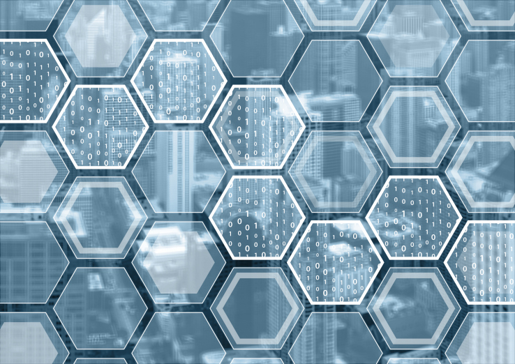 Blockchain or digitization blue and grey background